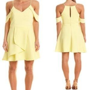 Adelyn Rae Draped Sleeve Dress Yellow Fit Flare XS